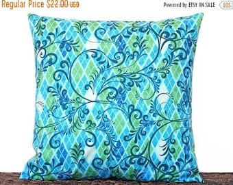 Christmas in July Sale Turquoise Swirl Pillow Cover Geometric Blue Lime Green Apple Green Navy Blue Diamond Argyle Decorative 18x18