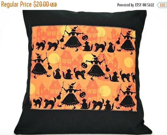 Christmas in July Sale Witches Halloween Pillow Cover Cushion  Black Cats Haunted Houses Orange Mustard Decorative 16x16