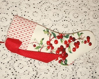 Luscious Sweet Cherries Wilendur Vintage Tablecloth Stocking with Vintage Chenille Cuff and Big Bow