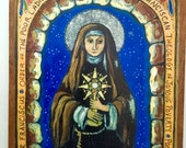 Female Soldier gift BFF gift unique gift Saint Clare of Assisi St Clare - Christian Religious gift - Retablo print