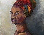 African American Art Model Woman Portrait Painting - 11x14 in Original Oil Painting