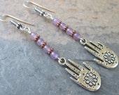 Hamsa ~ Purple Flourite earrings with Hamsa charms - Bohemian style jewelry