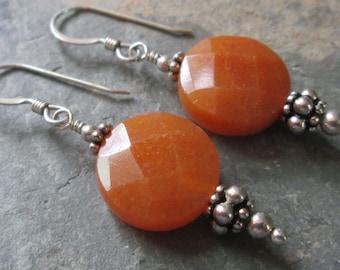 Sterling Silver & Red Aventurine Earrings - Chakra Jewelry