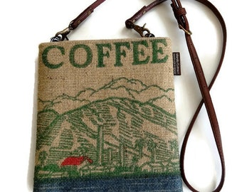 Repurposed Maui Coffee Bag. Burlap Mini-Messenger Bag, Cross Body Bag. Handmade in Hawaii.