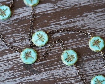 Dragonfly Necklace - Chain Necklace - Beaded Chain Necklace - Sea Green - Light Turquoise - Chunky Coin Necklace - Bead Soup Jewelry