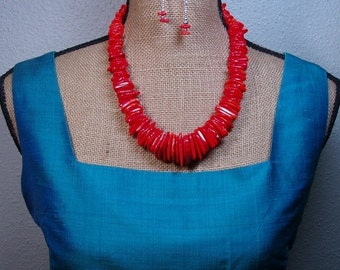 Valentine 20%Off-End 2-11  Orange Coral Necklace and Earrings