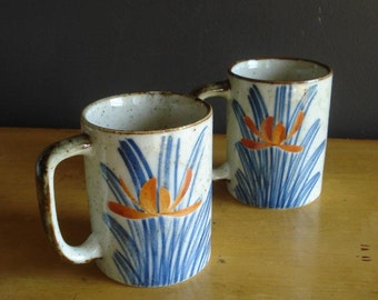 Orange and Blue Lotus Mugs - Set of Two Vintage Coffee Cups