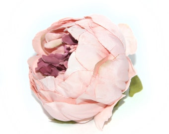 Vintage Inspired Cream Rose Pink Peony - Artificial Flower - Silk Flower Heads