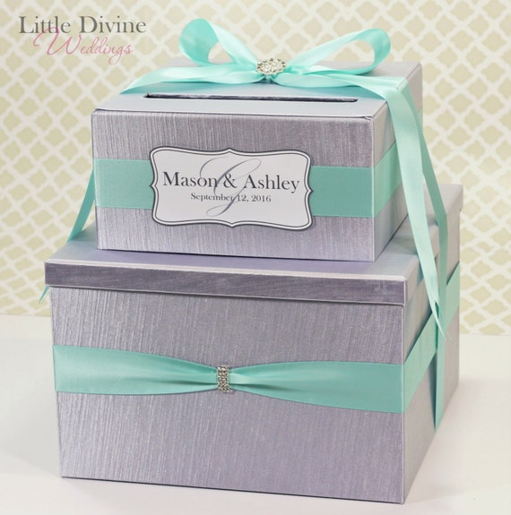 Silver Wedding Reception Gift Card Holder : Tier Wedding Card Box Silver and Aqua Blue Money Gift Holder Custom ...