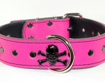 "Pink Leather Skull Collar - Black Skull Leather Dog Collar - 1-1/2"" Pink Leather Dog Collar - Leather Skull Dog Collar (Genuine Leather)"