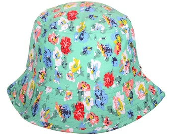 Bucket Hats Green  with Assorted Small Flowers Sun Hat Chemo Hat