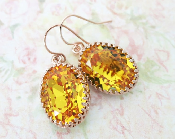Rose Gold Sunflower Yellow Earrings ROSE GOLD FILLED Ear wires, Swarovski Crystal Oval Bridal Bridesmaid Wedding Vintage Earrings