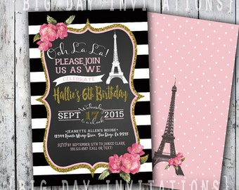 Paris Birthday Invitation, Eiffel Tower Invite, Paris Invitation, Printable Invitation, Chalkboard, French Party Sweet 16 Sixteen invite