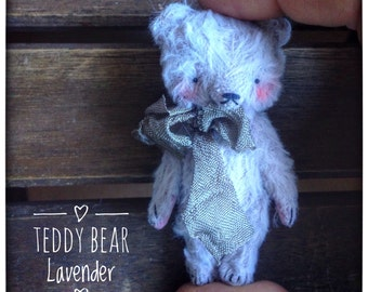 2 inch Artist Handmade Viscose Teddy Bear Lavender by Sasha Pokrass