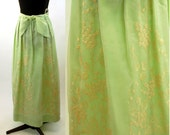 Embroidered maxi skirt silk organza green and gold formal wear fancy long skirt Size L