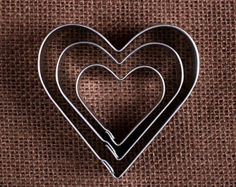 Heart Cookie Cutter Set, Heart Cookie Cutter, Metal Cookie Cutters, Valentine Cookie Cutters, Wedding Pastry Cutter, Heart Biscuit Cutters