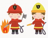 Firefighters Digital CLIP ARTS personal and commercial use for invitations, cupcake toppers, birthday cards, party supplies