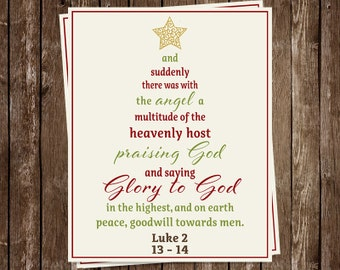 Religious Christmas Cards, Scripture Tree, Typography, Glory to God, Luke 2, Set of 24 Holiday Cards, FREE Shipping, CHRTR, Christian Tree