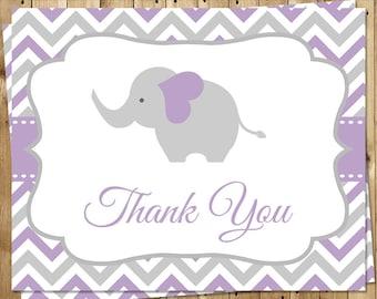 Elephant, Thank You Cards, Baby Shower, Purple, Girl, Chevron, Lavender, Little Peanut, Birthday, 24 Folding Notes, FREE Shipping, CHEGL