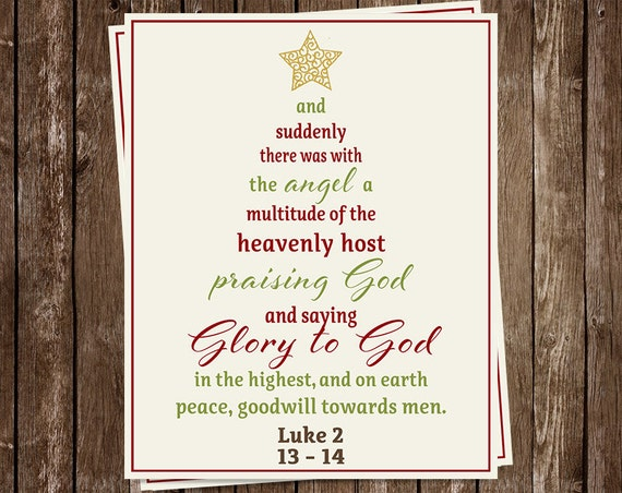 Religious Christmas Cards Scripture Tree Typography Glory