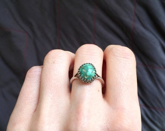 Vintage Turquoise Ring size 7.5 - Navajo Old Pawn Sterling Silver