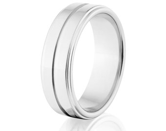 Polished Cobalt Ring, 7mm Wide Rings, Cobalt Rings USA Made Wedding Ring Mens Wedding Band :CB-7RC1G-P