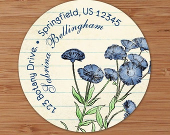 Blue Cornflowers - Address Labels or Stickers