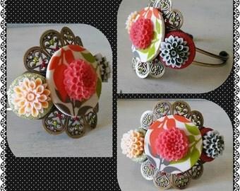 Autumn Leaves Button Mum Cuff Bracelet