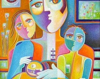 Cubist Painting Original Oil Modern Art Father Marlina Vera Figurative Contemporary Artwork sale Picasso Style Pop Fauvism Père Peinture