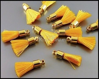 4 Butterscotch yellow, tiny 12mm cute tassel charms, yellow tassels with gold bail 2049G-BU