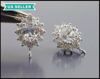 2 pcs Victorian style jewelry / silver oval flower Cubic Zirconia earrings, simulated diamond earrings  E1979-BR
