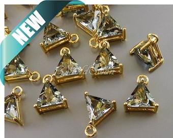 2 pcs 16mm triangle shape gray / grey glass stones, glass crystal charms / pendants 5145G-GR