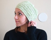 Crocheted Extra Large Slouch Beanie 100% Marino Wool