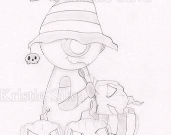 Strange Pumpkin Maker 5x7 Original Drawing by Kristie Silva big eyed monster creature