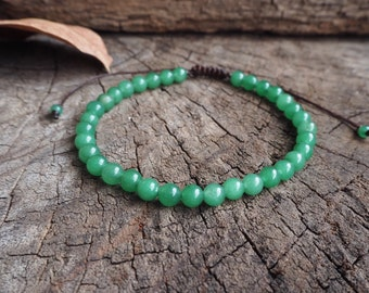 Jade Unisex Knot Anklet, 6mm beads