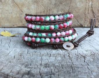 Candy Jade 5 Wrap Leather Bracelet, 6mm, Shell button