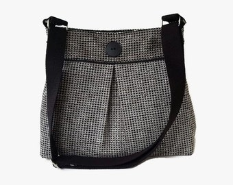 Black Tweed Pleated Crossbody Bag - Upholstery Fabric Messenger Purse - Black Shoulder Bag - Adjustable Strap - Tweed Handbag