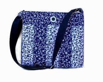 Navy Blue Fabric Crossbody Bag - Navy Cross Body Purse - Messenger Bag - Womens Purse - Navy Blue Shoulder Bag - Adjustable Strap