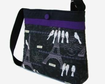 Black Crossbody Purse - Paris Eiffel Tower Print Messenger Bag - Cross Body Bag - Adjustable Strap - Womens Handbag