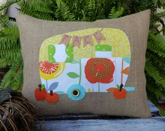 Fall Vintage Camper Pillow on glittery burlap
