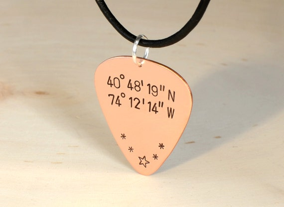 Latitude Longitude Guitar Pick Necklace in Copper with Personalized Coordinates - GP173