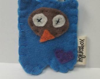 Owl, felt owl, owl keychain, keychain,blue owl, love owls