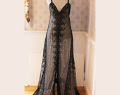 Vintage 1970s Glydons Made in Hollywood Sheer Long Black Lace Nightgown