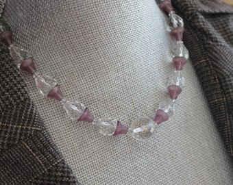 Vintage 1920s to 30s Art Deco Frosted Lavender and Clear Faceted Glass Beaded Necklace