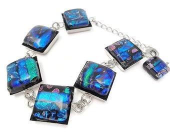 Art Glass Bracelet/Dichroic Fused Glass Bracelet/ Fused Glass Bracelet/Green, Blue and Purple/ Bangle Bracelet