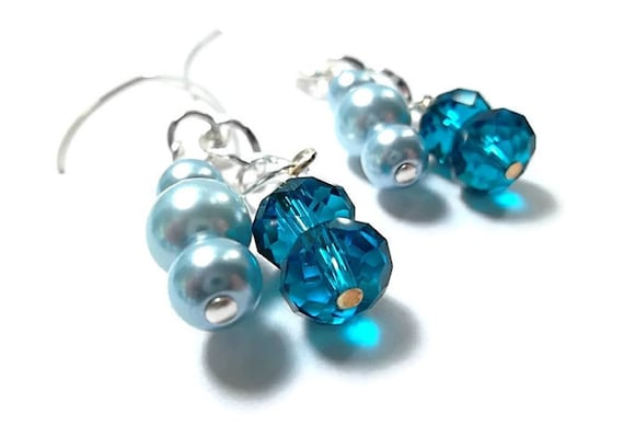 Wedding/ Pearl Bridal Earrings/Bridal Jewelry/Light Blue Pearls/Crystals/Sterling Silver/Earrings