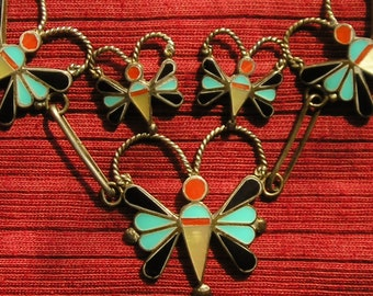 Zuni Sterling Silver Turquoise Multi-Stone Inlay Butterfly Necklace and Earrings Set