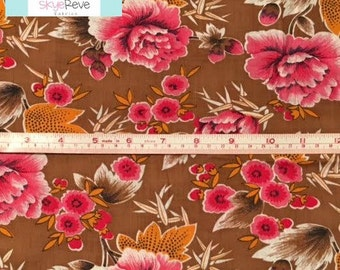 LAST YARD, Vintage Brown and Pink Fabric, 1 yard