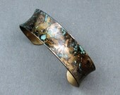 Brass cuff with unique patina OOAK by Mary Heuer