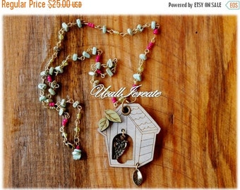 HALF PRICE Birdhouse Necklace /Handmade by Me/Gifts for Her